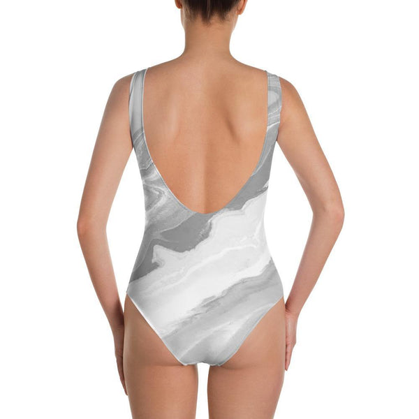 Gray Stonewash - One-Piece Swimsuit - Polly and Crackers