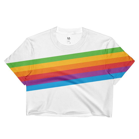 Retro Pride Rainbow - Crop Shirt , Crop Shirt , Polly & Crackers Apparel
