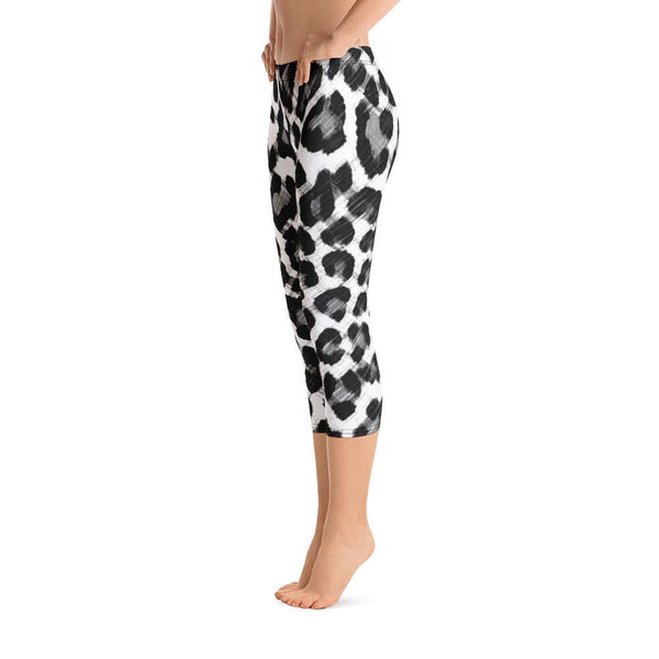 Polly & Crackers Leggings Black & White Leopard - Capri Leggings