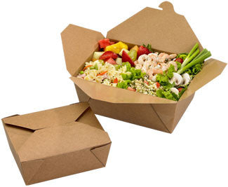 "Fold Top Kraft Paper 8.5""x6.25""x2.5""Take-Out Box, 200/case - C-PAC"
