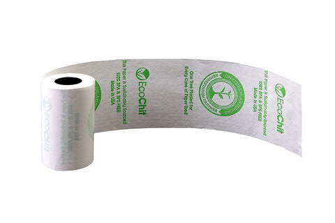 "EcoChit 2-1/4"" x 45' Pre-Printed Eco-Friendly Thermal Rolls, Every Case Plants One Tree, Case of 50"