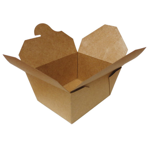 "Compostable Fold Top Kraft Paper 5""x4.5""x2.5"" Take-Out Box , 450/case - C-PAC"