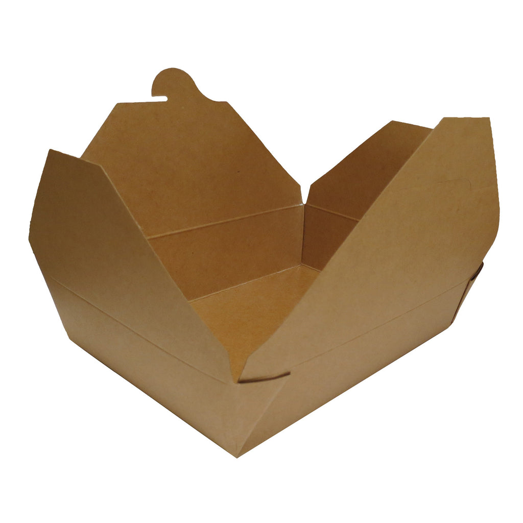 "Compostable Fold Top Kraft Paper 8.5""x 6.25"" x 2.5"" Take-Out Box, 200/case - C-PAC"