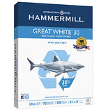 Hammermill Great White 30% Recycled, 8.5 x 11 20lb 92 Bright, 1 Pallet (80 cases per pallet, 5 reams per case)