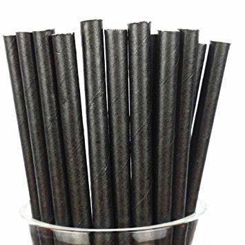 "6"" Compostable Paper Straws, Black, Case of 300"