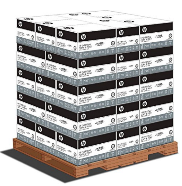 HP Everyday Copy & Print, 8.5 x 11 20lb 92 Bright, 1 Pallet (40 cases per pallet, 10 reams per case)