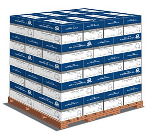 Hammermill Great White 100% Recycled, 8.5 x 11 20lb 92 Bright, 1 Pallet (40 cases per pallet, 10 reams per case)