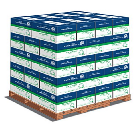 Hammermill Great White 50% Recycled, 8.5 x 11 20lb 92 Bright, 1 Pallet (40 cases per pallet, 10 reams per case)