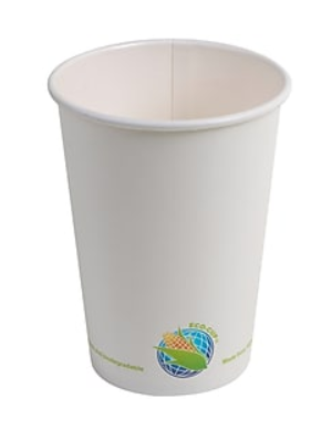 Eco-Packaging 8oz Compostable PLA Lined (Plant Based) Paper Hot Drink Cups, Single Walled, White, Case of 1000