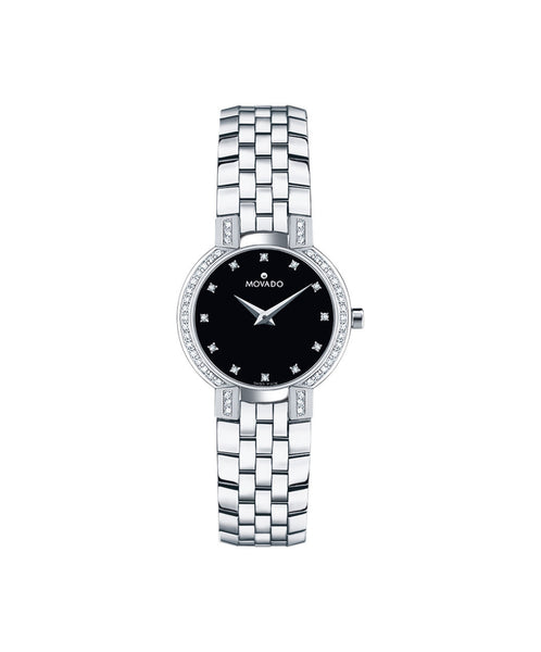 Movado Women's Faceto Watch, 25 mm Stainless Steel with 46 Diamonds 0605586 - Arnik Jewellers