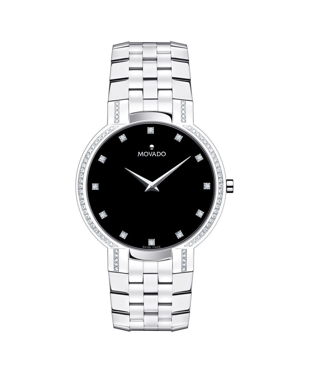 Movado Men's Faceto Watch, 38 mm Stainless Steel with 74 Diamonds 0606237 - Arnik Jewellers