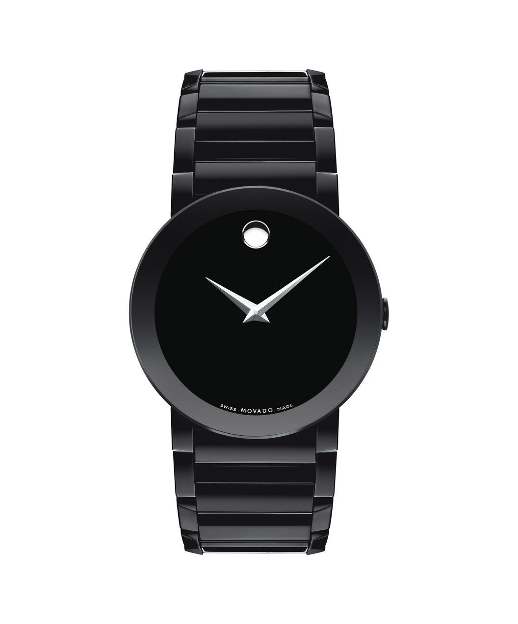 Movado Men's Sapphire Watch, 38 mm Black PVD-Finished Stainless Steel Bezel-Free 0606307 - Arnik Jewellers