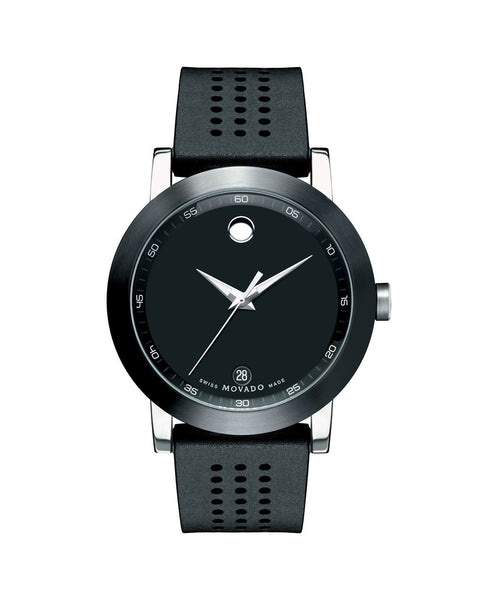 Movado Men's Museum Sport Watch, 42 Stainless Steel case with Black PVD-Finished Bezel 0606507 - Arnik Jewellers