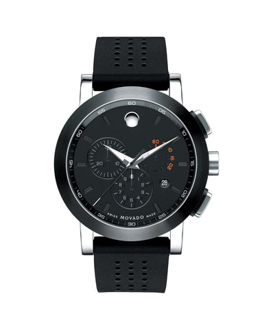 Movado Men's Museum Sport Chronograph Watch, 44 mm Stainless Steel with Black PVD-Finished Bezel 0606545 - Arnik Jewellers