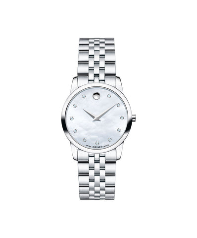 Movado Women's Museum Classic Watch, 28 mm Stainless Steel, White Mother-of-Pearl Dial with 11 Diamond Markers 0606612 - Arnik Jewellers