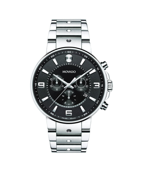 Movado Men's SE Pilot Chronograph Watch, 42 mm Stainless Steel, Round Bi-Level Black Soleil Dial 0606759 - Arnik Jewellers