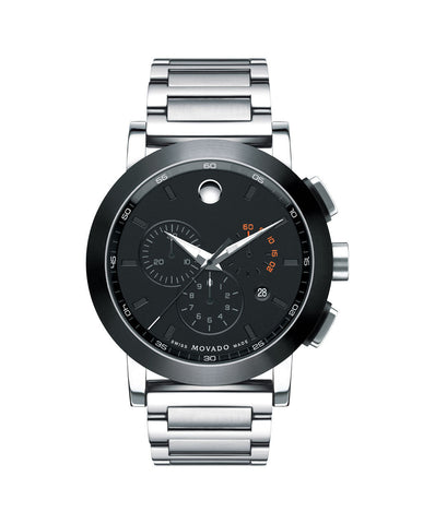 Movado Men's Museum Sport Chronograph Watch, 44 mm Stainless Steel with Black PVD-Finished Bezel 0606792 - Arnik Jewellers
