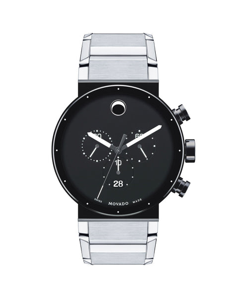 Movado Men's Sapphire Synergy Chronograph Watch, 42 mm Black PVD-Finished and Stainless Steel Bezel-Free 0606800 - Arnik Jewellers