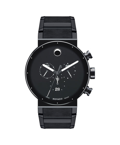 Movado Men's Sapphire Synergy Chronograph Watch, 42 mm Black PVD-Finished Stainless Steel Bezel-Free 0606801 - Arnik Jewellers
