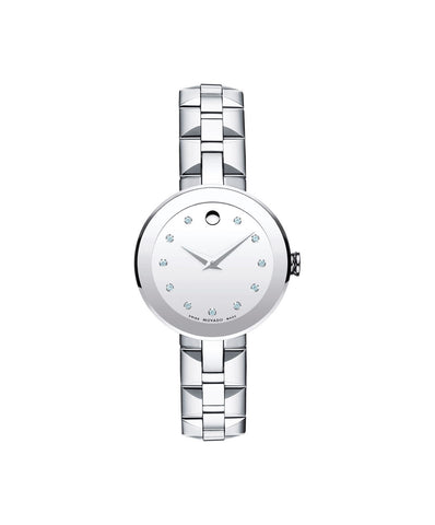 Movado Women's Sapphire Watch, 28 mm Stainless Steel Bezel-Free and 11 Diamond Markers 0606814 - Arnik Jewellers