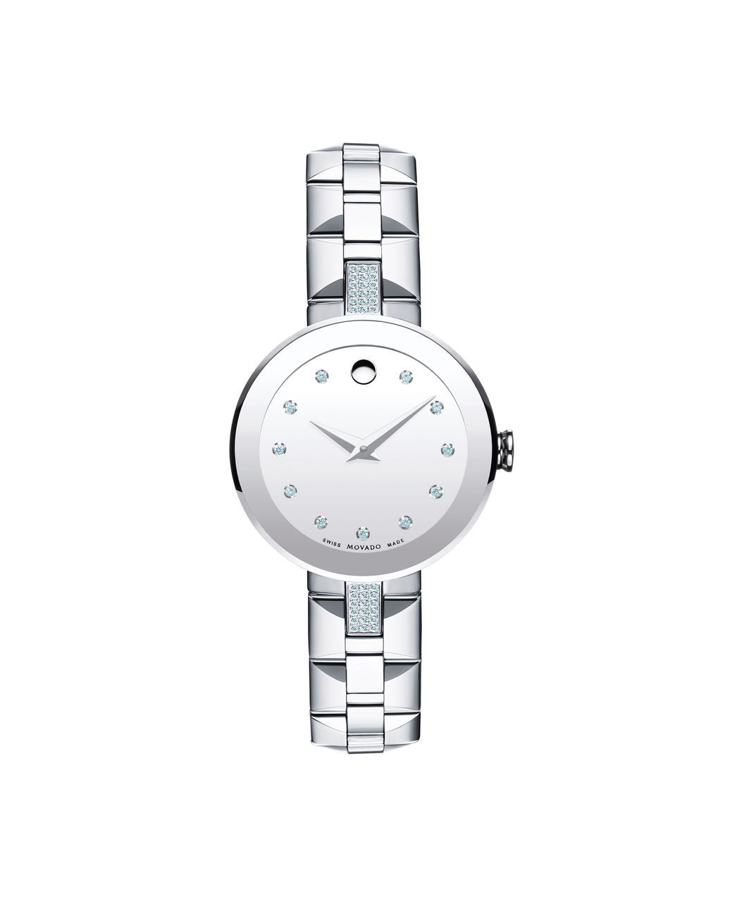 Movado Women's Sapphire Watch, 28 mm Stainless Steel Bezel-Free and 36 north/south diamond accents and 11 Diamond Markers 0606815 - Arnik Jewellers