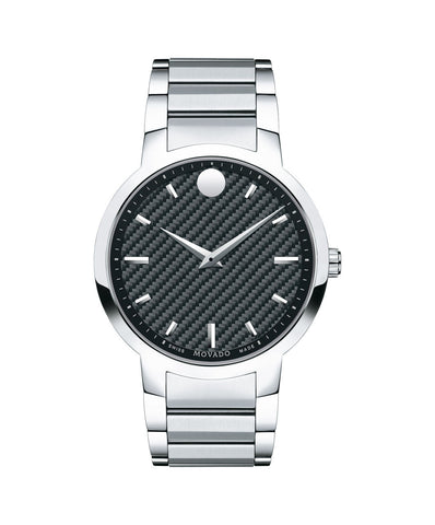 Movado Men's Gravity Watch, 42 mm Stainless Steel and Polished Black Carbon Fiber 0606838 - Arnik Jewellers