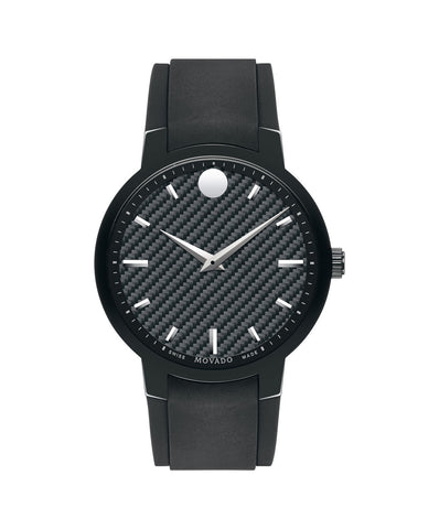 Movado Men's Gravity Watch, 42 mm Black PVD-Finished Stainless Steel and Polished Black Carbon Fiber 0606849 - Arnik Jewellers