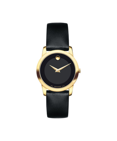 Movado Women's Museum Classic Watch, 28 mm Yellow Gold PVD-Finished Stainless Steel, Black Museum Dial 0606877 - Arnik Jewellers