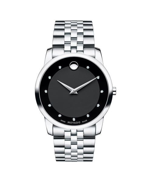 Movado Men's Museum Classic Watch, 40 mm Stainless Steel, Black Dial, 11 Diamond Markers 0606878 - Arnik Jewellers
