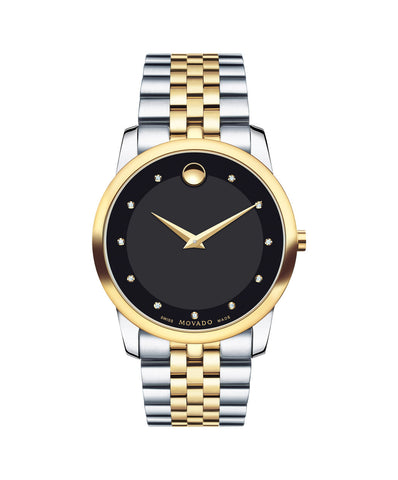 Movado Men's Museum Classic Watch, 40 mm Stainless Steel and Yellow Gold PVD-Finished, Black Dial, 11 Diamond Markers 0606879 - Arnik Jewellers