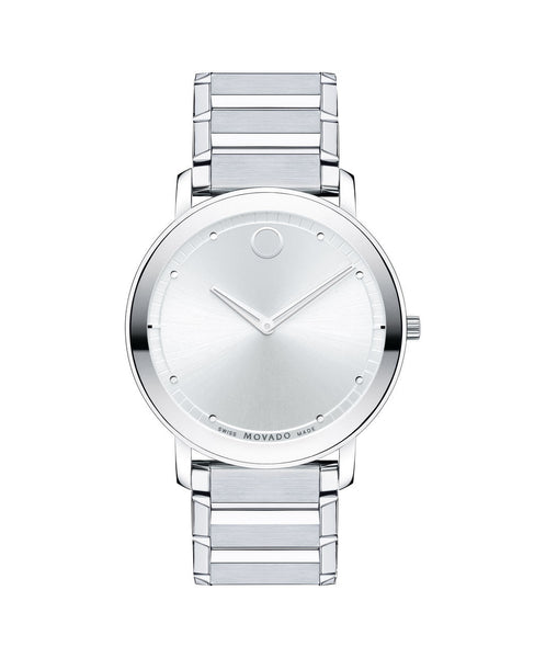 Movado Men's Sapphire Watch, Thin 40 mm Stainless Steel Bezel-Free 0606881 - Arnik Jewellers