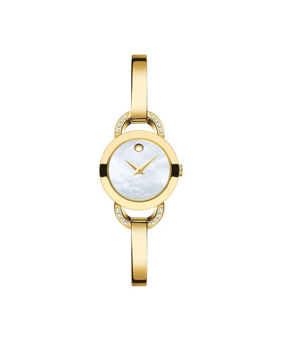 Movado Women's Rondiro Watch, 22 mm Yellow Gold PVD-Finished Stainless Steel with Diamond-set Open Semicircular Lugs, White Mother-of-Pearl Museum Dial 0606889 - Arnik Jewellers
