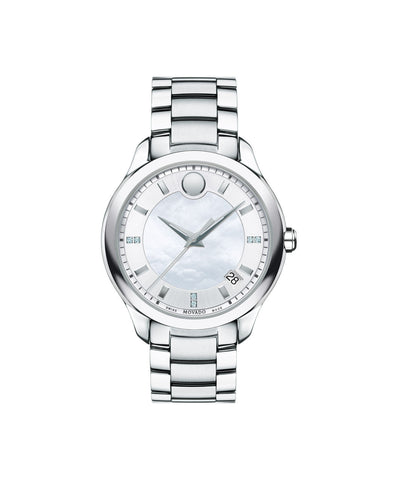 Movado Women's Bellina Watch, 36 mm Stainless Steel, Diamond-Set Markers and White Mother-of-Pearl and Silver-Toned Dial 0606978 - Arnik Jewellers
