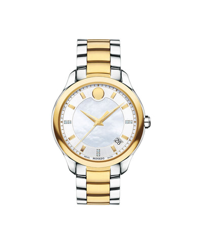 Movado Women's Bellina Watch, 36 mm Stainless Steel and Yellow Gold PVD-Finished, Diamond-Set Markers and White Mother-of-Pearl and Silver-Toned Dial 0606979 - Arnik Jewellers