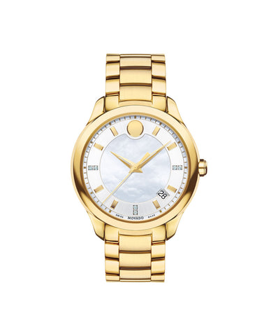 Movado Women's Bellina Watch, 36 mm Yellow Gold PVD-Finished Stainless Steel, Diamond-Set Markers and White Mother-of-Pearl and Silver-Toned Dial 0606980 - Arnik Jewellers