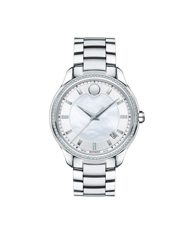 Movado Women's Bellina Watch, 36 mm Stainless Steel and 80-Diamond Bezel, White Mother-of-Pearl and Silver-Toned Dial 0606981 - Arnik Jewellers