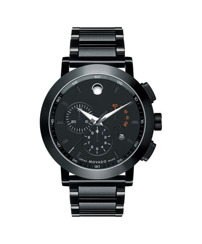 Movado Men's Museum Sport Chronograph Watch, 44 mm Stainless Steel with Black PVD-Finished Bezel 0607001 - Arnik Jewellers