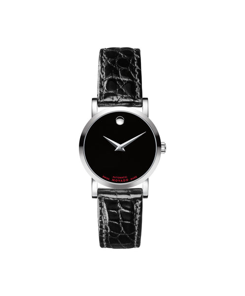 Movado Men's Red Label Automatic Watch, 26 mm Stainless Steel on Alligator Strap 0607009 - Arnik Jewellers