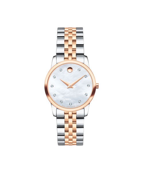 Movado Women's Museum Classic Watch, 28 mm Rose Gold PVD & Stainless Steel Diamond Dial 0607077 - Arnik Jewellers