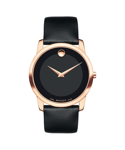 Movado Men's Museum Classic Watch, 40 mm Rose Gold PVD Stainless Steel 0607078 - Arnik Jewellers