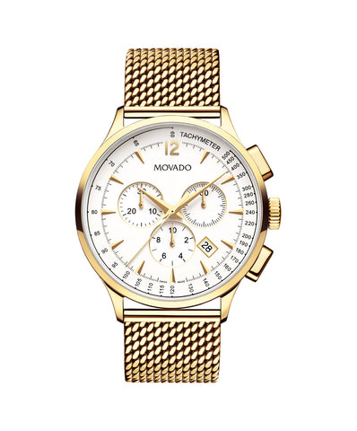 Movado Men's Circa Chronograph Watch, 42 mm Yellow Gold PVD Stainless Steel 0607080 - Arnik Jewellers