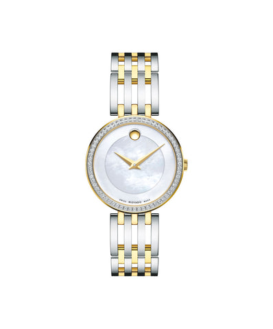 Movado Esperanza Women's Watch, 28 mm Yellow Gold PVD & Stainless Steel Diamond Bezel 0607085 - Arnik Jewellers