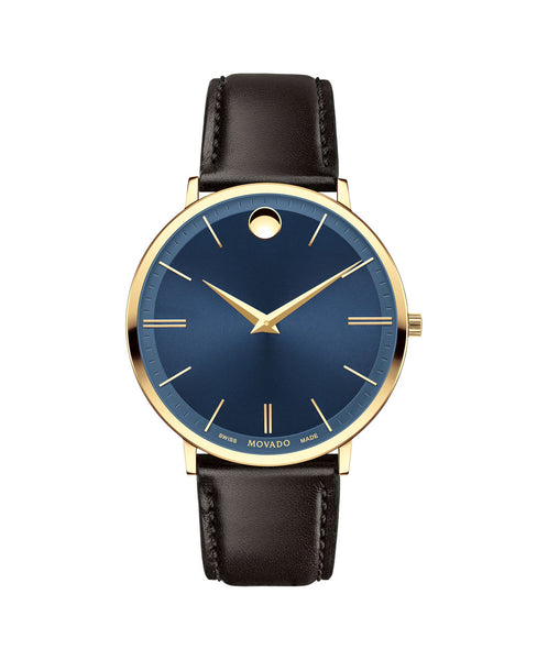 Movado Men's Ultra Slim Watch, 40 mm Yellow Gold PVD Thin 0607088 - Arnik Jewellers