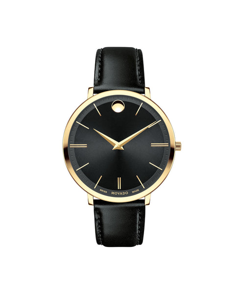 Movado Mid-Size Ultra Slim Watch, 35 mm Yellow Gold PVD Thin 0607091 - Arnik Jewellers