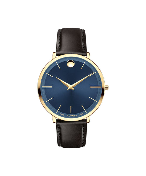 Movado Mid-Size Ultra Slim Watch, 35 mm Yellow Gold PVD Thin 0607092 - Arnik Jewellers