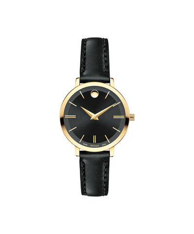 Movado Women's Ultra Slim Watch, 28 mm Yellow Gold PVD Thin 0607095 - Arnik Jewellers