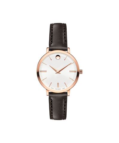Movado Women's Ultra Slim Watch, 28 mm Rose Gold PVD Thin 0607096 - Arnik Jewellers