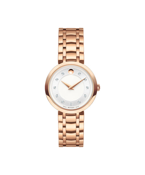 Movado Women's 1881 Quartz Watch, 28 mm Rose Gold PVD Stainless Steel Diamond Dial 0607100 - Arnik Jewellers