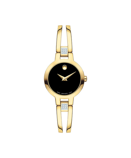 Movado Women's Amorosa Watch, 24 mm Yellow Gold PVD Stainless Steel with Diamonds 0607155 - Arnik Jewellers