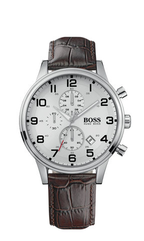Hugo Boss 1512447 Men's  H2006 Chronograph Silver Dial Brown Leather Watch - Arnik Jewellers